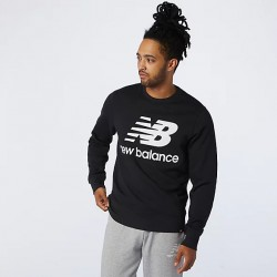 New Balance Felpa Essentials Stacked Logo Crew MT03560BK